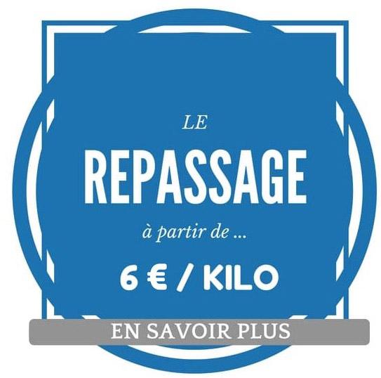 Etiquette tarifs Repassage : 6 euros le kilo